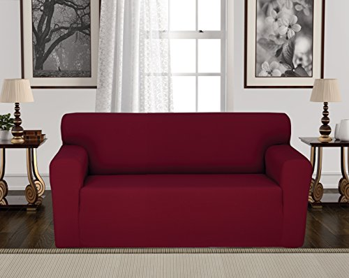 Anti-Slip Jacquard 1-Piece Spandex Stretch Elastic Pet Dog Sofa Couch Cover Slipcover Non-Slip Arm-chair Love-Seat Furniture Protector Shield 1 2 3 Seater T Cushion L Shaped (Loveseat - Burgundy) 2 Piece Settee