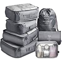 Vagreez 7-Piece Travel Luggage Organizer Packing Cubes with Laundry Bag and Toiletry Bag (Grey)