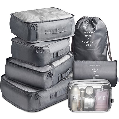 Packing Cubes VAGREEZ 7 Set Lightweight Travel Luggage Organizers with Laundry Bag or Toiletry Bag (Grey)