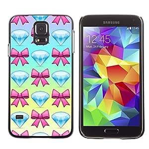 FlareStar Colour Printing Diamond Jewel Gem Bowtie Pink Blue cáscara Funda Case Caso de plástico para SAMSUNG Galaxy S5 V / i9600 / SM-G900F / SM-G900M / SM-G900A / SM-G900T / SM-G900W8
