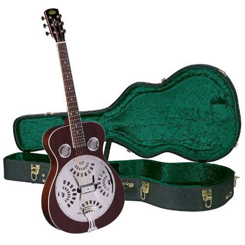 Resonator Guitar Natural - Regal RD-40M Studio Series Roundneck Resophonic Guitar with Hardshell Case - Natural Mahogany