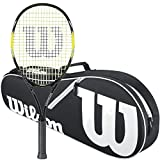 Wilson Energy XL Strung Tennis Racquet bundled with a Black/White Wilson Advantage II Triple Tennis Bag
