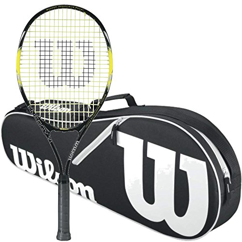 (Wilson Energy XL Strung Tennis Racquet bundled with a Black/White Wilson Advantage II Triple Tennis Bag)