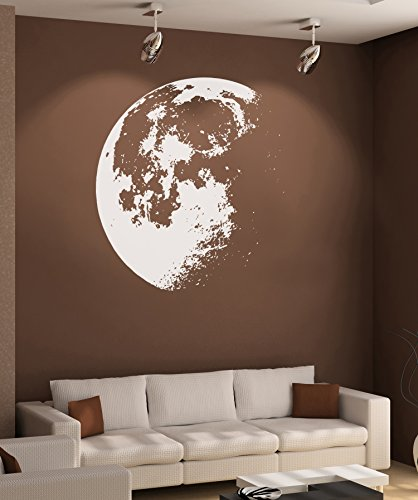 Large Crescent Moon Wall Decal Sticker by Stickerbrand - White color, Large 53in x 48in. #523A Easy to Apply & Removable. by Stickerbrand (Image #7)