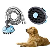Xjamus Pet Shower Bath Sprayer Multi-Functional Dog Shower Shampoo Brush Grooming Tool for Dogs/Cats with Stainless...