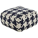 Alena 24-inch Houndstooth Square Wool Pouf Blue, Off-White