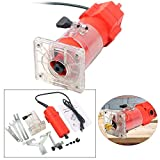 "YaeTek 110V Trim Router Edge Woodworking Compact Router Wood Clean Cuts Power Tool Set 30000RPM 1/4"" Collet"