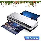 "Update Series: INTEY Thermal Laminator Machine - Two Roller System Rapid Warm-up & Fast Lamination Speed 丨Suitable for Letter-Size/A4 Paper (Gift: A4 Thermal Laminating Pouches 8.26""x11.7"",10-Pack)"