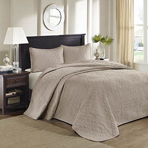 3 Piece Oversized King Bedspread to the Floor Set, Solid Khaki Brown Warm Tone, 120 Inches X 118 Inches, Coverlet Allover Quilt Drops Over Edge of King Beds, Microfiber, Stylish - Quilt X Oversized 118 120