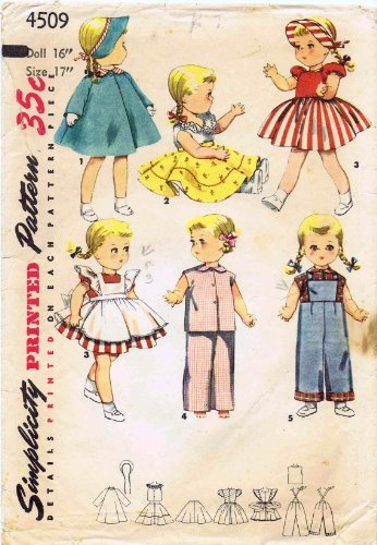 Simplicity 4509 Vintage Sewing Pattern Saucy Walker Doll Clothes (Walker Saucy)