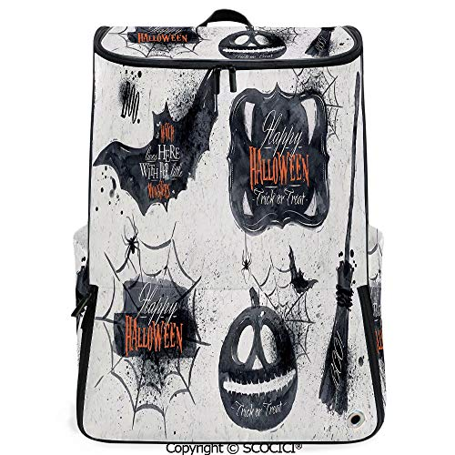 SCOCICI 3D Printed Backpack,Halloween Symbols Happy Holiday Witch