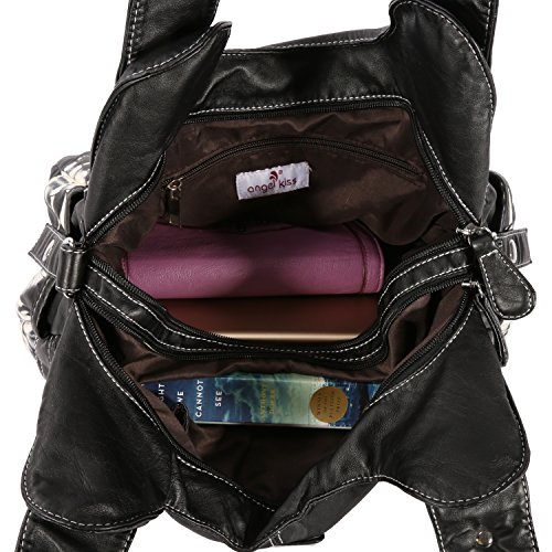Black Handbags Purses Multi Womens Functional Handbags Womens Angelkiss Large pocket Purse AK11282Z Capcity 7TqwxAS