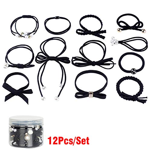 Women Hair Accessories Elastic Hair Ties, Lovely Ribbon Bow-knot Hair Rubber Band Set for Babies, Children, Girls & Ladies, Black (Pack of 12)