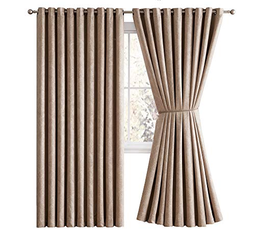 LinenZone Evelyn - Wall-to-Wall Extra Wide Embossed Blackout Grommet Curtain Panels with 2 Rope Tiebacks - Ideal for Window Decor or Room Divider (2 Panels 108' W x 99' L Each, Taupe)