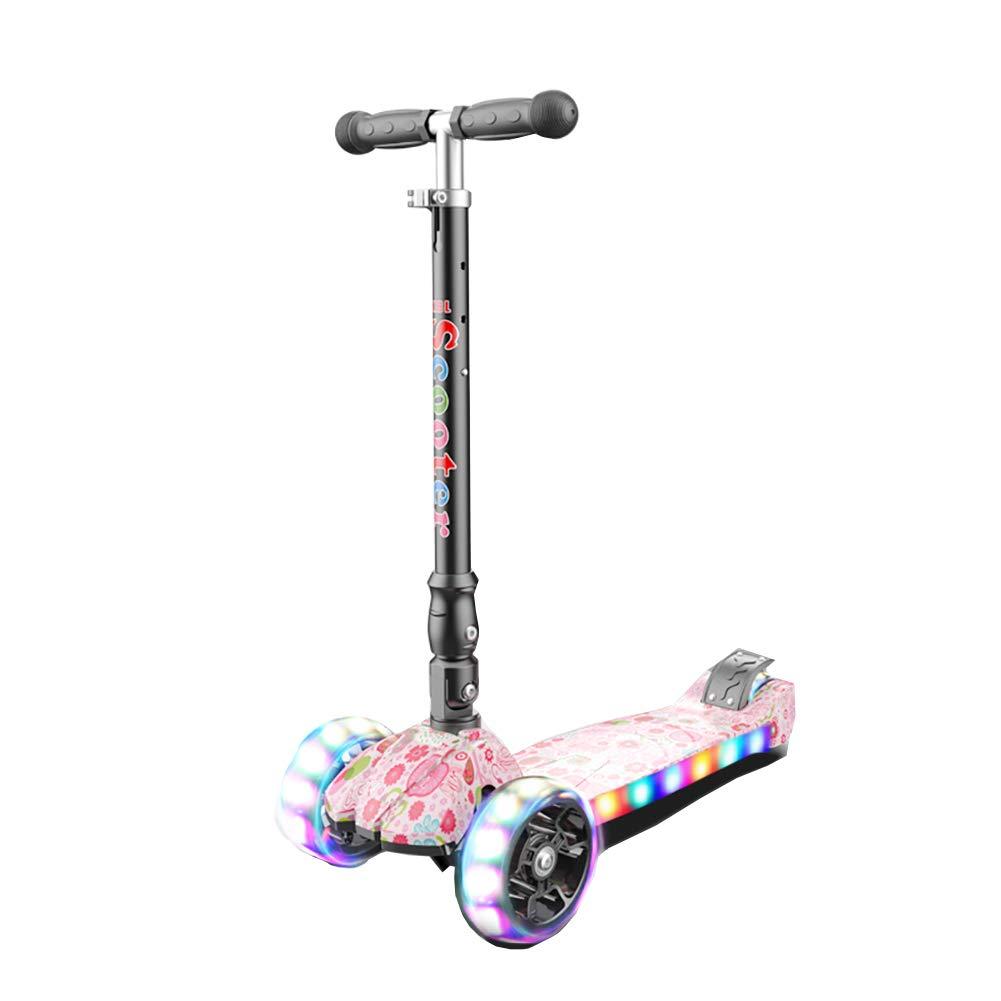 YXX- スクーター 調節可能な高さの子供の折る蹴りのスクーターは車輪、子供の幼児の年齢2-16のための最もよい誕生日プレゼントをつけます (Color : Style-1) Style-1