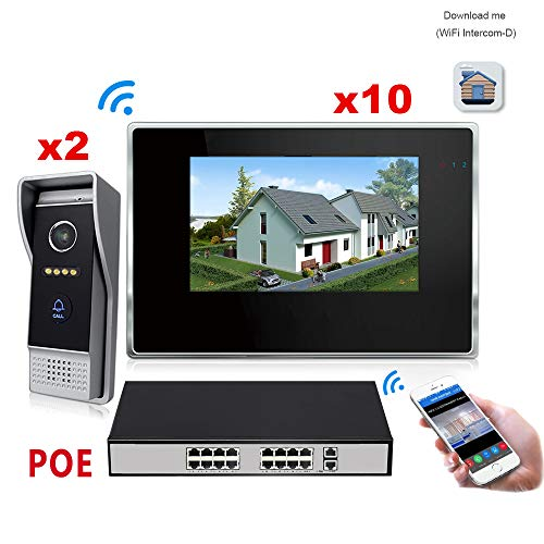 WiFi IP Video Door Phone Intercom System, Video Doorbell 7'' Touch Screen for 10 Apartments/8 Zone Alarm, Support Smart Phone +16 POE Switch