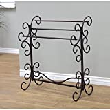 Frenchi Home Furnishing TLR1603 Metal Scroll Blanket Rack, Black