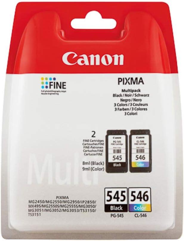 Badgerinks PG-545/CL-546 - Juego de 2 cartuchos de tinta para Canon Pixma MG2550, color negro y tricolor
