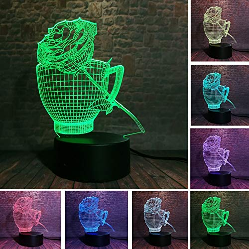 (AAMOUSE Romantic Coffee Cups and Roses 7 Color Changing Night Light Bedside Home Pty Holiday Decor Child Baby Sleeping Birthday Gifts)