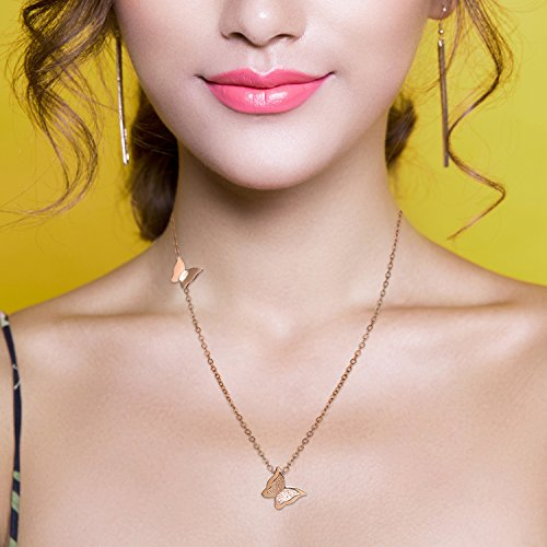 Cupimatch Frosted Butterfly Stud Earrings and Necklace Set, 18k Rose Gold Plated love Jewelry Gift Set for Women by Cupimatch (Image #3)