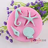 Pinkie Tm Seahorse Starfish Shells Conch Fondant Cake Silicone Mold Chocolate Clay Resin Mould Sugarcraft Cake Decorating Tools