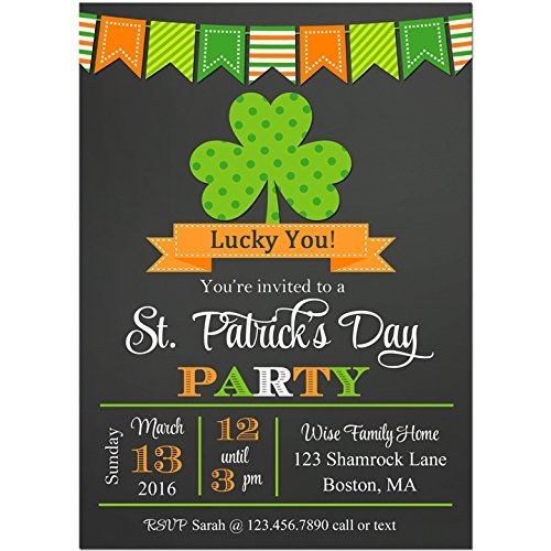 St. Patrick's Day Invitation Printable or Printed - ANY Wording - Shamrock Collection