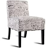 Giantex Accent Chair Living Room Modern Comfortable Single Deco Bedroom Room Office Armless Chair (Beige With Letters)