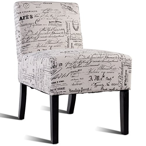 Giantex Accent Chair Living Room Modern Comfortable Single Deco Bedroom Room Office Armless Chair (Beige With Letters) by Giantex