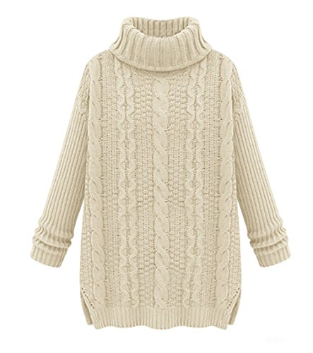 LOVEBEAUTY Women's Turtleneck Chunky Cable Knit Long Sleeve Loose Sweater Pullover Cream S