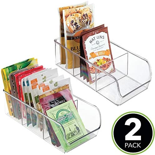 51p4yjkhNNL. AC mDesign Plastic Food Packet Kitchen Storage Organizer Bin Caddy - Holds Spice Pouches, Dressing Mixes, Hot Chocolate, Tea, Sugar Packets in Pantry, Cabinets or Countertop - 2 Pack - Clear    From the brand