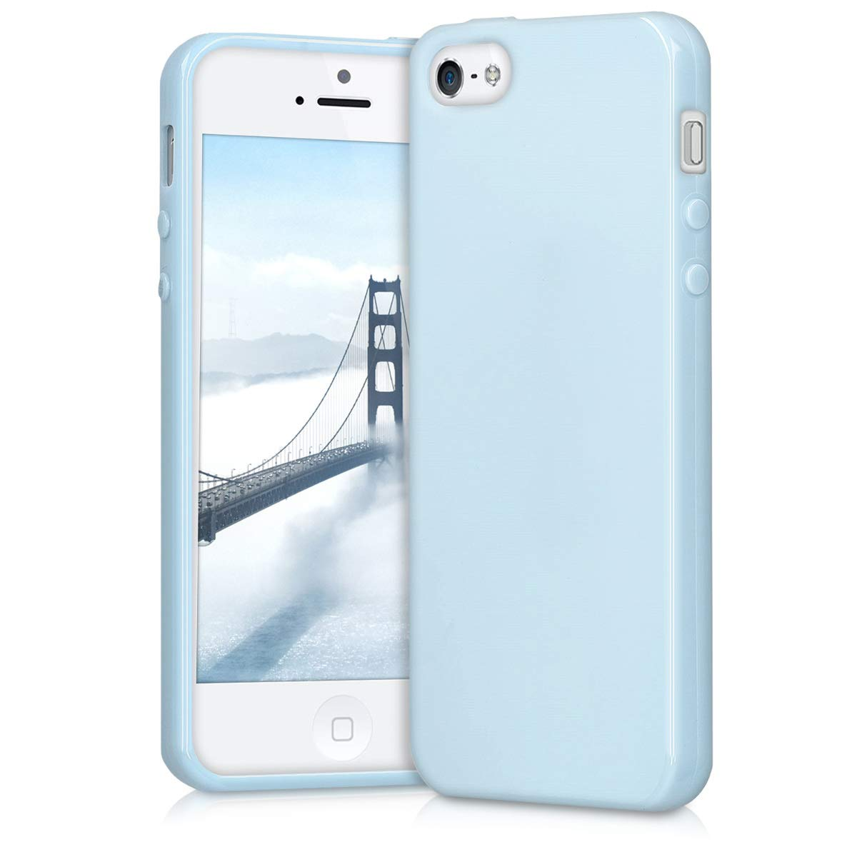 kwmobile TPU Silicone Case for Apple iPhone SE / 5 / 5S - Soft Flexible Shock Absorbent Protective Phone Cover - Light Blue Matte