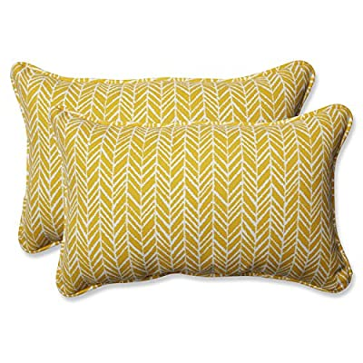 Pillow Perfect Outdoor | Indoor Herringbone Egg Yolk Rectangular Throw P 2 Piece - Includes two (2) outdoor pillows, resists weather and fading in sunlight; suitable for indoor and outdoor use Plush fill - 100-percent polyester fiber filling Edges of outdoor pillows are trimmed with matching fabric and cord to sit perfectly on your outdoor patio furniture - living-room-soft-furnishings, living-room, decorative-pillows - 51p4ylu6PBL. SS400  -