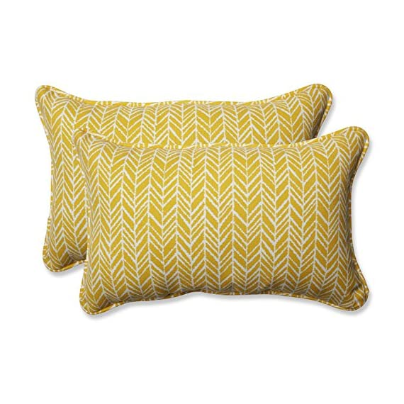 Pillow Perfect Outdoor | Indoor Herringbone Egg Yolk Rectangular Throw P, 2 Piece - Includes two (2) outdoor pillows, resists weather and fading in sunlight; suitable for indoor and outdoor use Plush fill - 100-percent polyester fiber filling Edges of outdoor pillows are trimmed with matching fabric and cord to sit perfectly on your outdoor patio furniture - living-room-soft-furnishings, living-room, decorative-pillows - 51p4ylu6PBL. SS570  -