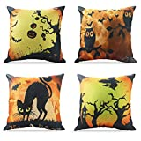 WEYON Happy Halloween Cotton Linen Throw Pillow Covers 18 x 18 Inch Owl/Bat/Witch/Black Cat Theme Sofa Home Decorative Cotton Linen Cushion Covers Set of 4