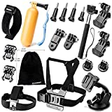 Zookki Ultimate Combo Accessories Bundle Kit for GoPro Hero 4 3+ 3 2 1 Black Silver Accessory Kit for GoPro 4 3+ 3 2 1 Camera Accessory Kit for SJ4000 SJ5000 SJ6000 in Parachuting Swimming Rowing Surfing Skiing Climbing Running Bike Riding Camping Diving Outing and Other Outdoor Sports