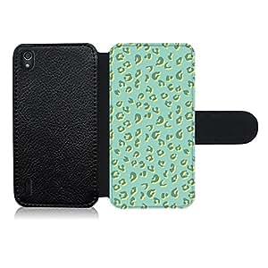 Funda carcasa de cuero para Huawei P7 diseño ilustración estampado leopardo verde agua