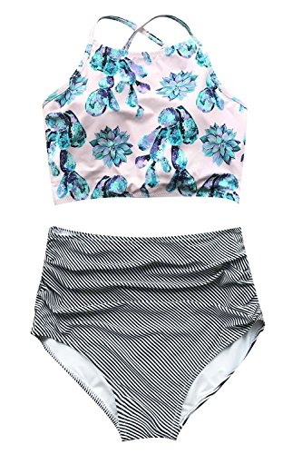 (Cupshe Fashion Women's Floral Top Stripe Bottom Padding Bikini Set (L), Multicolor)