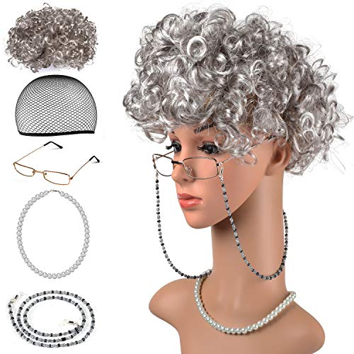 Beelittle Old Lady Costume Grandmother Cosplay Accessories Set - Granny Wig Wig Cap Glasses Pearl Necklace (A) ()
