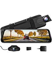 """AZDOME Mirror Dash Cam for Car, 10"""" Touch Screen Rear View Mirror Camera, Front and Rear Mirror Dash Cam With170 Wide Angle, Night Vision, G-Sensor, Parking Assistance, 32G TF Card (Included)"""