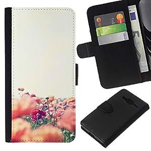 WINCASE Cuadro Funda Voltear Cuero Ranura Tarjetas TPU Carcasas Protectora Cover Case Para Samsung Galaxy Core Prime - flores naturaleza campo de verano