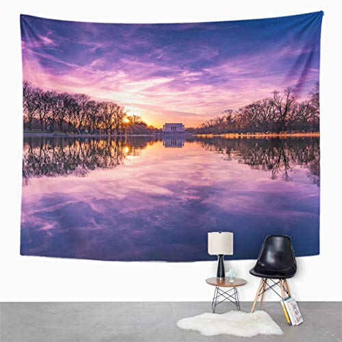 Semtomn Tapestry Wall Hanging Pool Lincoln Memorial Reflecting Abraham America American Architecture Capital 60