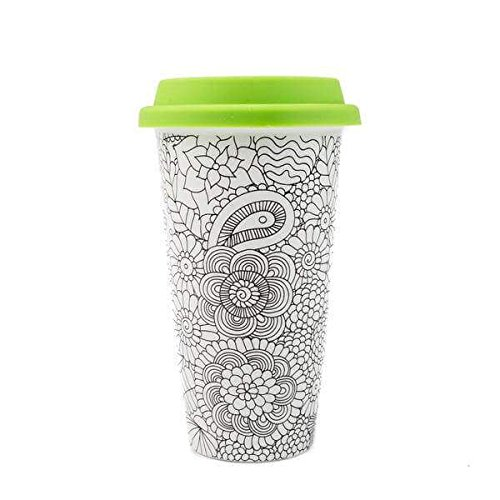Joy Ceramic (DCI Color Joy Adult Coloring Products, I Am Not A Paper Cup, Custom Travel Coffee Mug, Green Lid, 12oz Capacity, Flowers Design, White, Ceramic, Spill-Proof)
