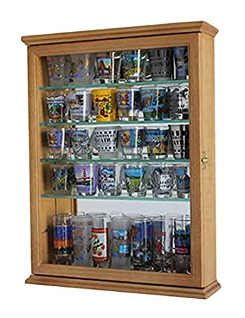 36 Souvenir Shot Glass Mini Liquor Bottle Display Case Shadow Box, OAK Finish (SCD06B