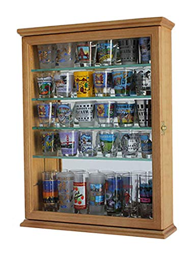 36 Souvenir Shot Glass Mini Liquor Bottle Display Case Shadow Box, OAK Finish (SCD06B-OA)