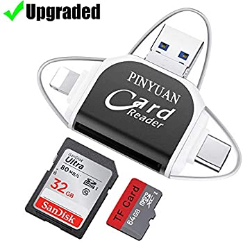 SD Card Reader,Memory Micro SD Card Reader USB Type C Adapter Viewer Compatible with iPhone/OTG Android/Computer - 4 in 1