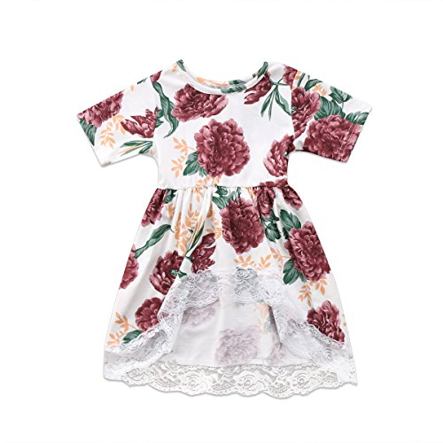 Plaid Smocked Top Dress (Newborn Kid Baby Girls Clothes Floral Lace Prom Party Tops T Shirts Tail Dress (6-12 Months))