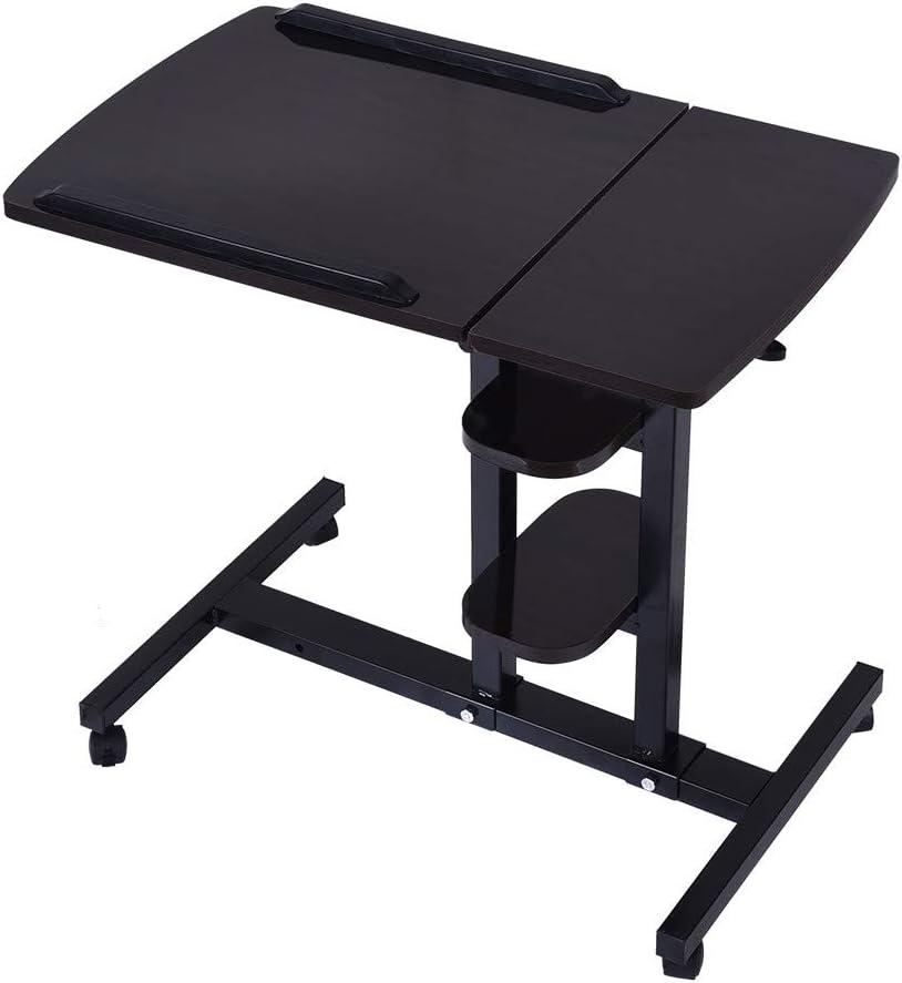 Clearance Sale!Folding Computer Desk,2-Tier Mobile Standing Desk Stand Up Desk Height Adjustable Laptop Desk Mobile Laptop Computer Desk for Home Office School (Black)