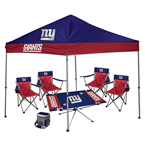 New Tailgate York Table Giants (NFL Hall of Fame Tailgate Bundle - New York Giants (1 9X9 Canopy, 4 Kickoff Chairs, 1 16 Can Cooler, 1 Endzone Table))