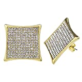 Huge Kite 22mm Iced-out Gold Finish Large Square 12 Row Micro Pave Big Hip Hop Earrings
