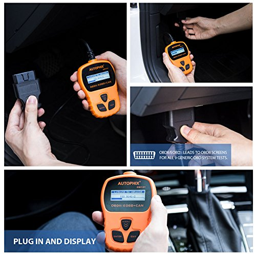 OBD II Code Reader, Autophix OM121 Car Engine Fault Automotive Diagnostic Scan Tool Check Engine Light with I/M Readiness for Ford GM Acura BMW Buick and More (Orange) by AUTOPHIX (Image #3)